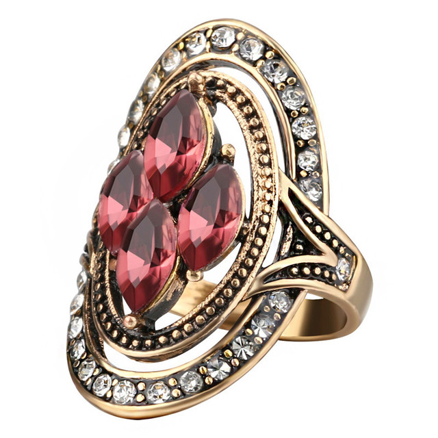 Vintage Shabby Purple Rings For Woman Antique Gold Mosaic Crystal