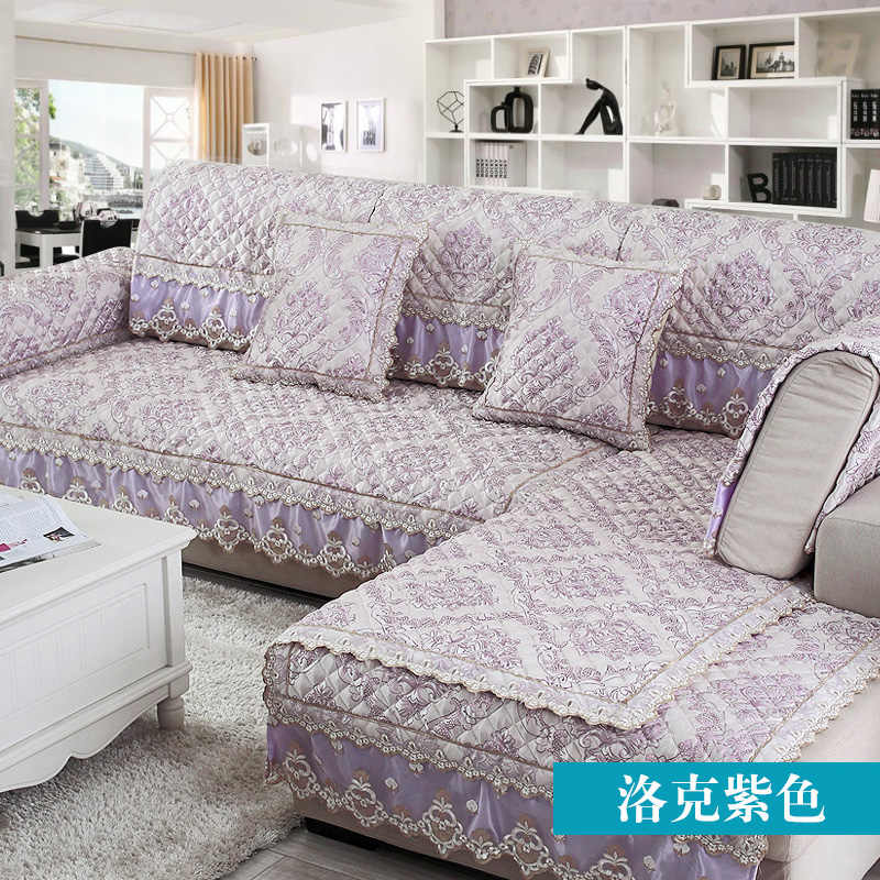 European Lace Sofa Cover Linen Sofa Towel Couch Cover Slip Combination Sofa  Slipcover for Corner Seat Cover