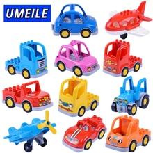 UMEILE Brand Original Ladder Truck Crane Shovel Tanker Freight Car City Large Building Blocks Baby Toys