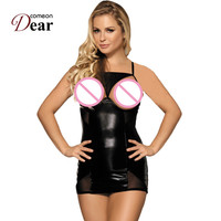 Comeondear Women Night Dress Sleepwear RK70338 Open Cup Crotchless Leather Lingerie Dress With G String Nighties