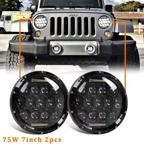 2PCS Car H4 LED Headlight 7inch 75W 7 H13  HIGH LOW BEAM For JEEP JK Wrangler &some Motor with headlight