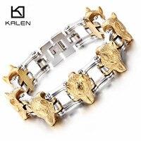 Kalen 316 Stainless Steel Link Chain Wolf Head Charm Bracelet 2018 New Punk Bracelet Hip Hop Men's Accessory Gift For Boyfriend