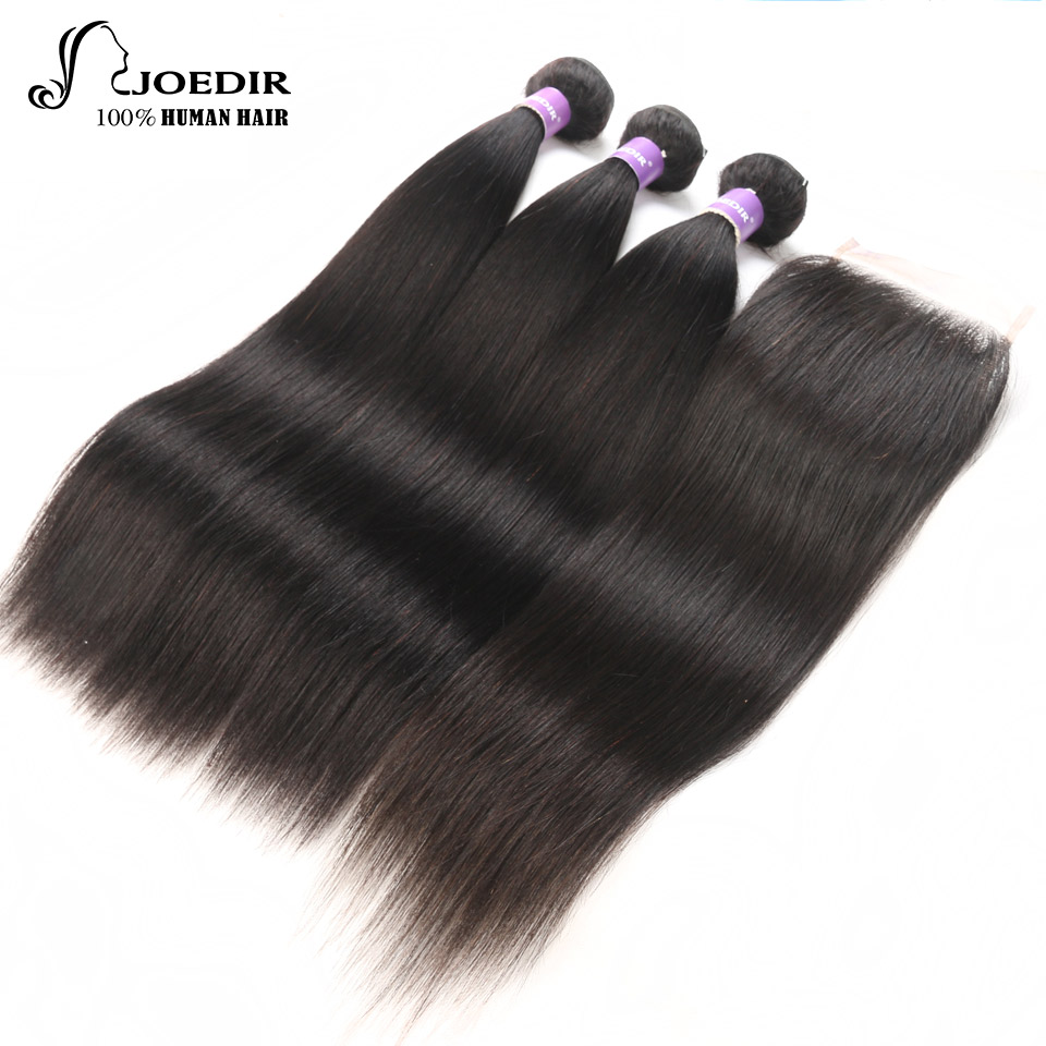 Joedir Indian Straight Hair Bundles with Closure Natural Color 4X4 Closure Human Hair with Bundles Human Hair with Closure