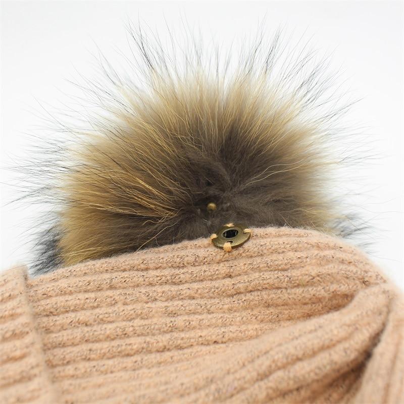 Lanxxy Real Mink Fur Pompom Cap Կանանց ձմեռային - Հագուստի պարագաներ - Լուսանկար 5