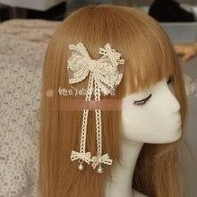 Princess sweet lolita Hairpin Manual butterfly hairpin DIY original hair lace female line forest headdress Lolita bell    GSH064
