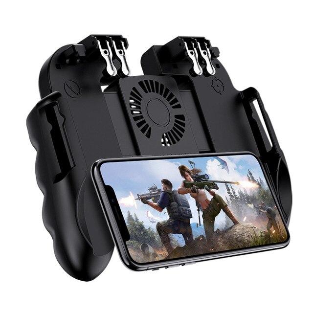 PUBG Mobiele Controller Gamepad Met Koeler Koelventilator Voor iOS Android Smartphone 6 Vingers Bediening Joystick Cooler Batterij