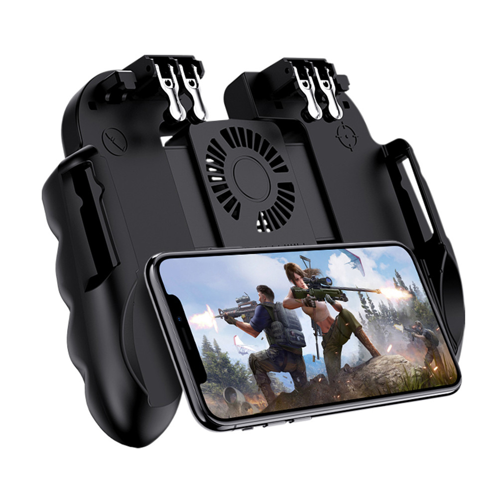PUBG Mobile Controller Gamepad With Cooler Cooling Fan For iOS Android Smartphone 6 Fingers Operation Joystick Cooler Battery-in Gamepads from Consumer Electronics