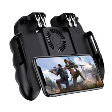 PUBG Mobile Controller Gamepad With Cooler Cooling Fan For iOS Android Smartphone 6 Fingers Operation Joystick Cooler Battery