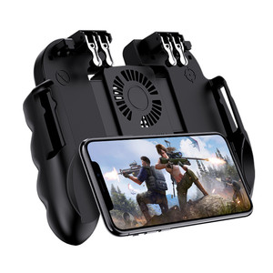 Image 1 - PUBG Mobile Controller Gamepad With Cooler Cooling Fan For iOS Android Smartphone 6 Fingers Operation Joystick Cooler Battery