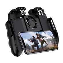 PUBG mobilny kontroler Gamepad z chłodnica wentylator dla iOS smartfonów z systemem Android 6 palców pracy Joystick chłodnicy baterii