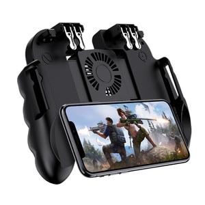 Image 1 - PUBG mobilny kontroler Gamepad z chłodnica wentylator dla iOS smartfonów z systemem Android 6 palców pracy Joystick chłodnicy baterii