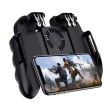 Pubg controlador móvel gamepad com cooler ventilador de refrigeração para ios android smartphone 6 dedos operação joystick cooler bateria