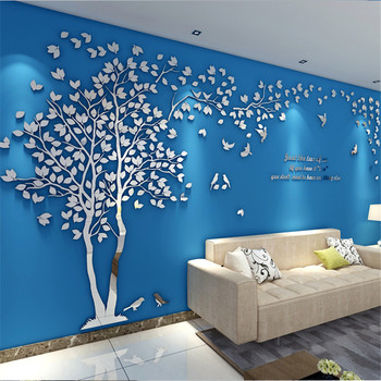 3D Tree Acrylic Mirror Wall Sticker Decals DIY Art TV Background Wall Poster Home Decoration Bedroom Living Room Wallstickers