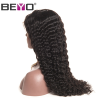 Beyo Deep Wave Lace Front Wig 130 Density Malaysian Hair Pre Plucked With Baby Hair Human
