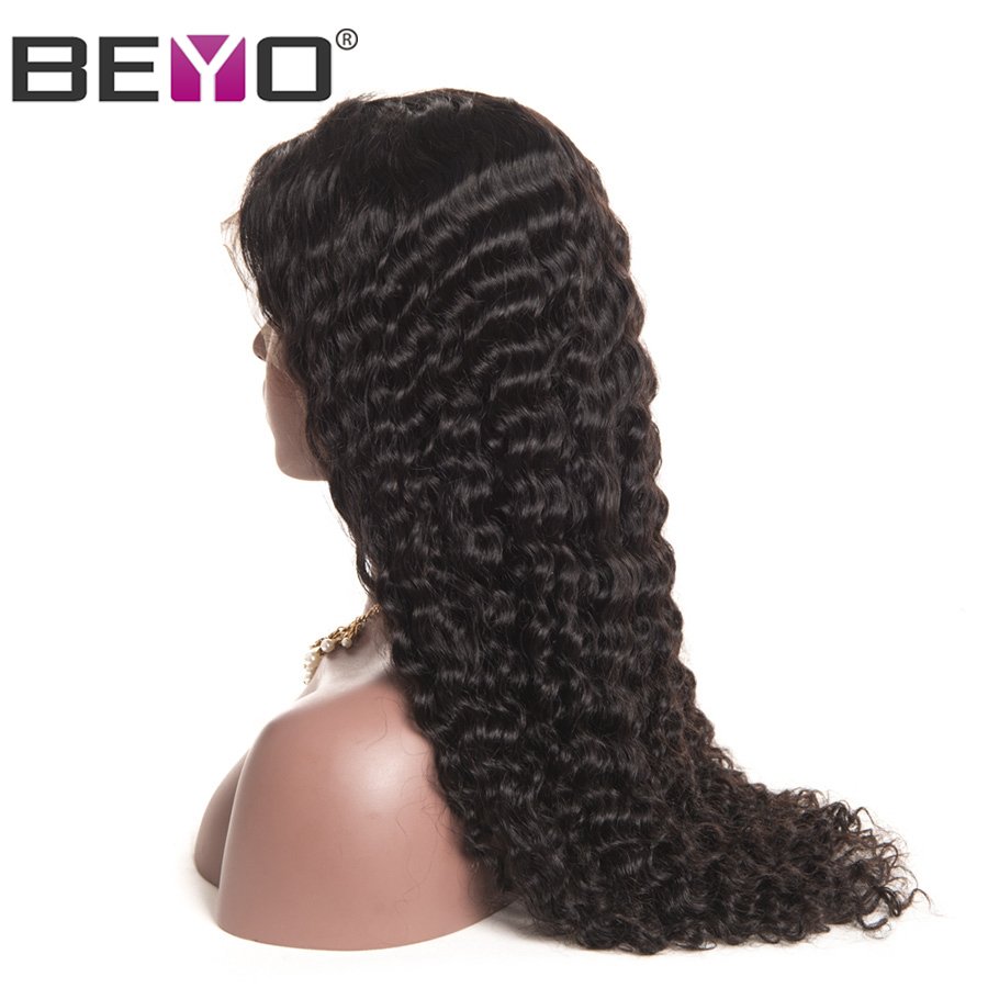Beyo Hair Lace Front Human Hair Wigs For Black Women Pre Plucked Malaysian Deep Wave Wig