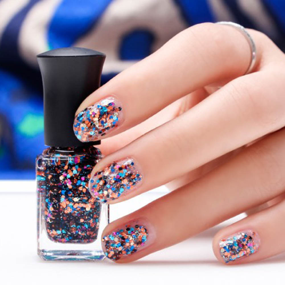 Nail Polish Tips: 6ml 3D Sequins Glitter Nail Polish Nail Art Decoration