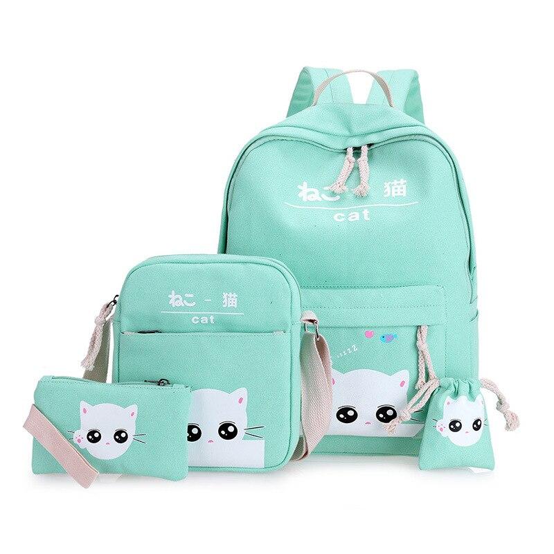 Cute Cat Print Teens Backpack Set for Girls Women Canvas School Bags Bookbag Set of 4 Medium Travel Daypack Kitty Japanese Bags cute cat shape and japanese character print design satchel for women