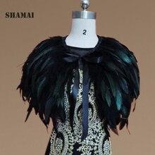 SHAMAI שחור פרווה חתונה משיכת הכתפיים קייפ בולרו גלישת הכלה צעיף תפור לפי מידה גודל