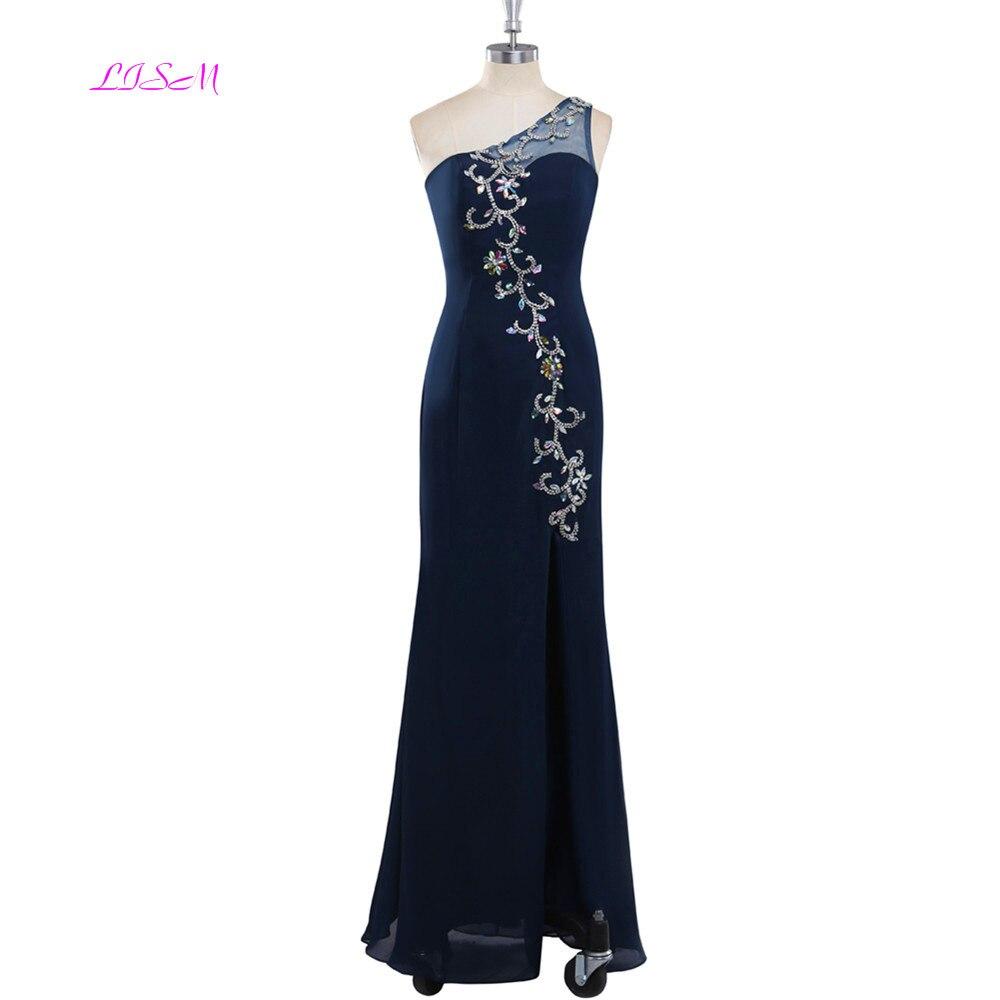 Une épaule strass longue robe de soirée en mousseline de soie perlée sans manches robes de bal femmes sirène formelle robes de soirée vestido largo
