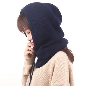 Image 5 - Femmes à capuche écharpe femme hiver chapeaux pour femmes cachemire 2018 nouvelle mode automne laine tricoté chaud enveloppes solide au Crochet écharpes