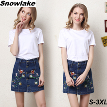 Snowlake 2017 New Plus Size S-3XL Vintage A-Line Embroidered Denim Skirt Female