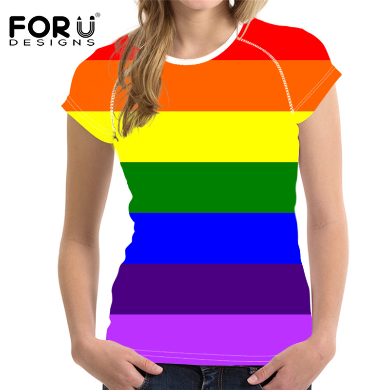 FORUDESIGNS Rainbow Colorful Women T Shirt,Summer Cute Kawaii Ladies T-shirt,Fashion Short Womens Tops,Shirts Femme Plus Size