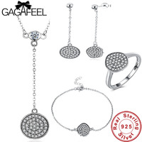 GAGAFEEL Authentic 100% 925 Sterling Silver Sparkling Round Jewelry Sets Real Original Women Wedding Engagement Bridal Jewelries