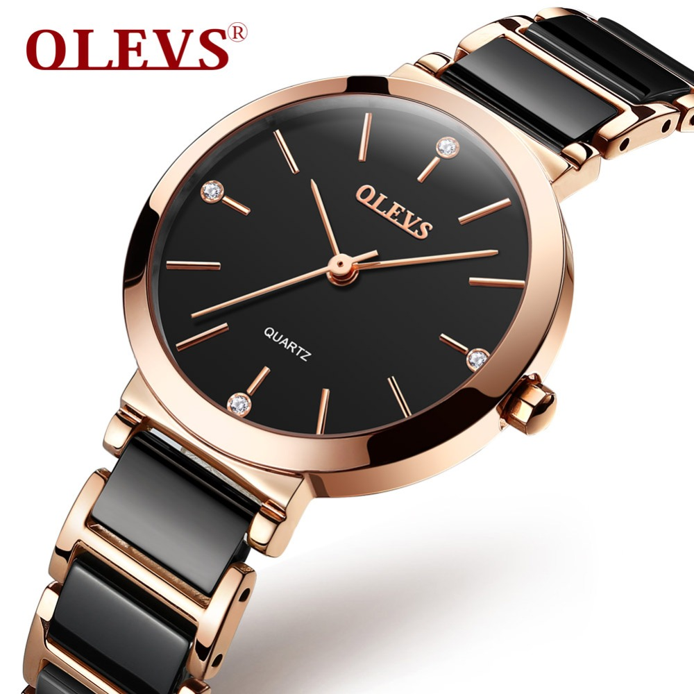 OLEVS просто Кварцевые керамические женские часы водостойкие Zegarek damski черные часы для женщины розовое золото женские часы Reloj Mujer подарки
