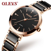 OLEVS Simply Quartz Ceramic Women Watches Waterproof Zegarek damski Black Watch For Woman Rose Gold Lady Clock Reloj Mujer Gifts
