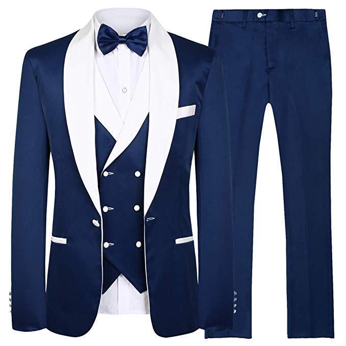 New Arrival One Button Groomsmen Shawl Lapel Groom Tuxedos Men Suits Wedding/Prom Best Man Blazer ( Jacket+Pants+Vest+Tie)A98