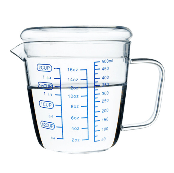 heat resistant glass mug measuring cup with a graduated microwave breakfast milk cup scale water. Black Bedroom Furniture Sets. Home Design Ideas