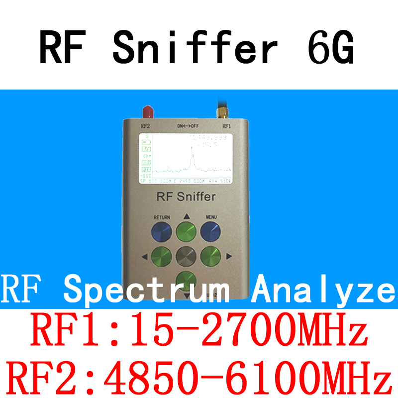 RF Sniffer 6G Handheld Digital Spectrum Analyze(15-2700MHz&4850-6100MHz) VHF/UHF/WiFi/2.4G/5.8G/Bluetooth/LTE/GSM/GPRS/HAM Tools mini handheld rf