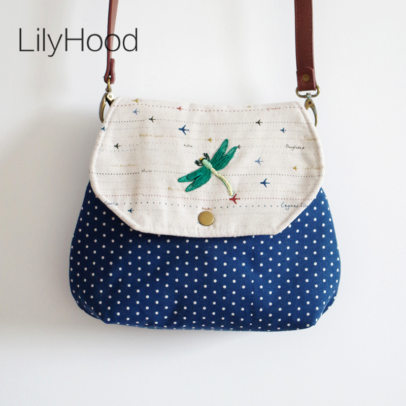 LilyHood 2018 Women Cute Embroidery Flap Fabric Handmade Crossbody Bag Linen Jute Blue Patchwork Polka Dots Hipster Sling Bag