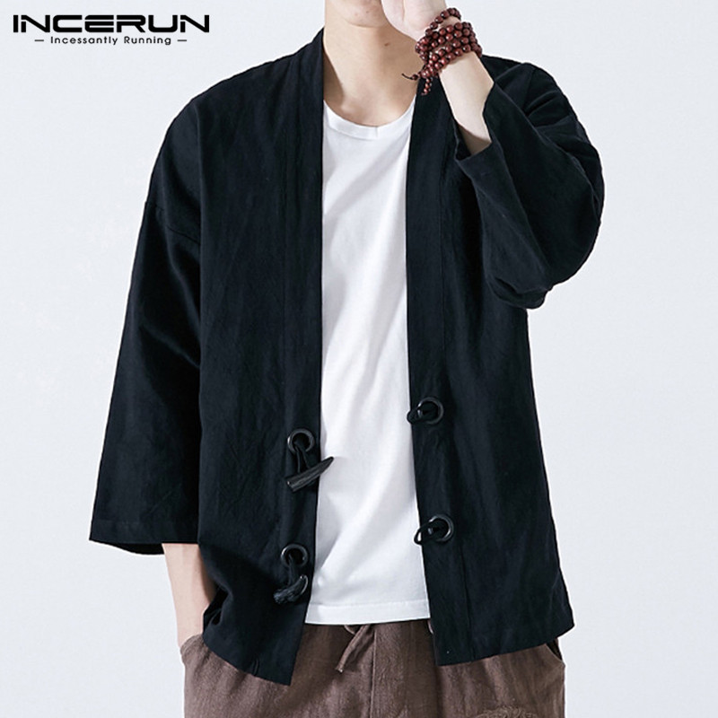 Mens Jacktes Coats 2020 Fashion Autumn Retro Button Long Sleeve Solid Mens Outwear Cardigan Kimono Chinese Open Stitch Oversized