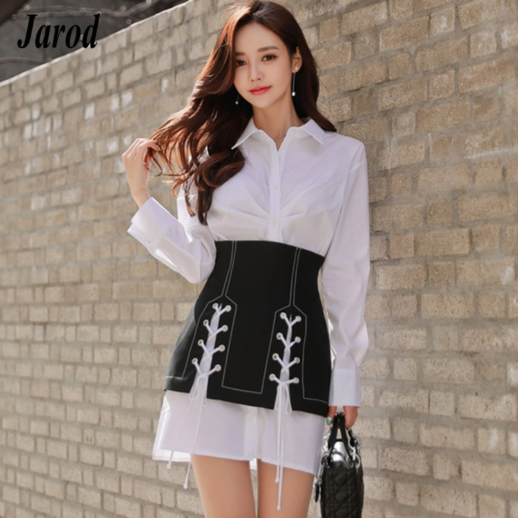 2 Piece Sets Womens Spring Classic White Long Shirts Draped Single Breasted Shirts+black Bandage Lace Up Mini Skirt