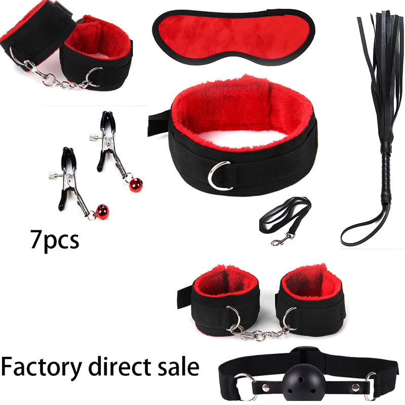 7pcs New bdsm bondage Set Restraints Adult Games Sex Toys for Couples Woman Slave Game SM Sexy Erotic Toys Handcuff Sm product sex bondage kit set 7 pcs sexy product set adult games toys set hand cuffs footcuff whip rope blindfold couples erotic toys