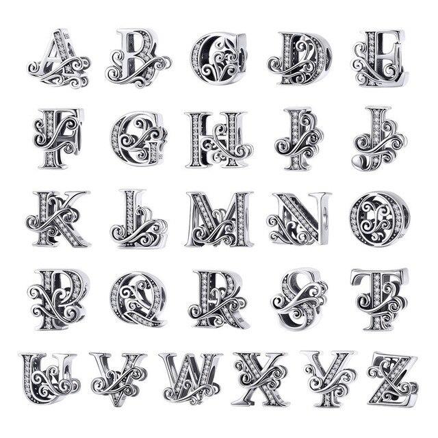 BAMOER MẠ MỚI 2019 Bạc 925 Vintage A đến Z Rõ Ràng CZ 26 Chữ Cái Alphabe Đính Hạt Quyến Rũ Phù Hợp Với Vòng Tay DIY bộ trang sức BSC030