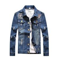 Jeans Jacket Mens Jackets Coats Spring summer Denim Jacket Mens Hole Clothes Cotton Jeans Jacket