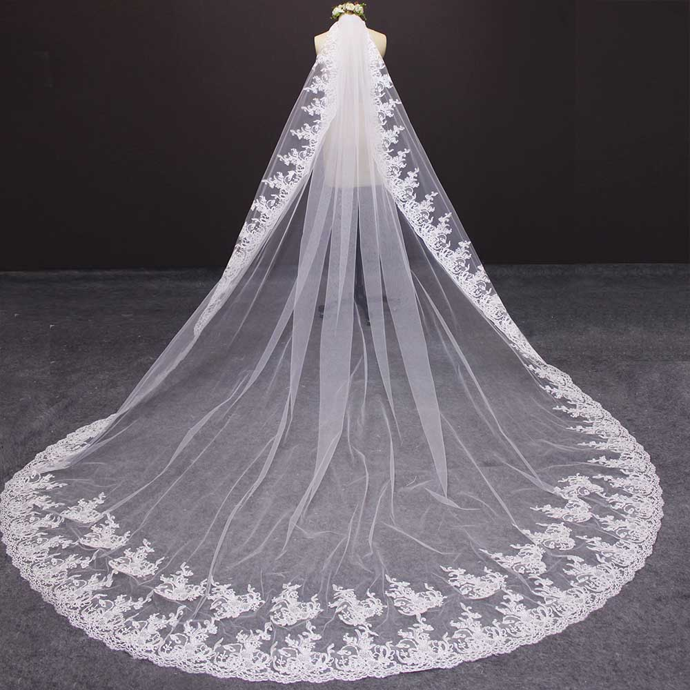 High Quality Shine Sequins Lace Edge Cathedral Wedding Veil 3 M Long Bridal Veil Customized Wedding Accessories 2019