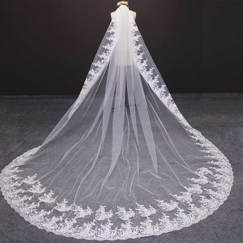 High Quality Shine Sequins Lace Edge Cathedral Wedding Veil 3 M Long Bridal Veil Customized Wedding Accessories