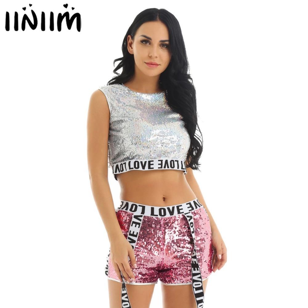 Iiniim Womens Adult Holographic Dance Set Costumes Crop Top With Shorts For Jazz Hip Hop Gymnastics Dancewear Stage Performance