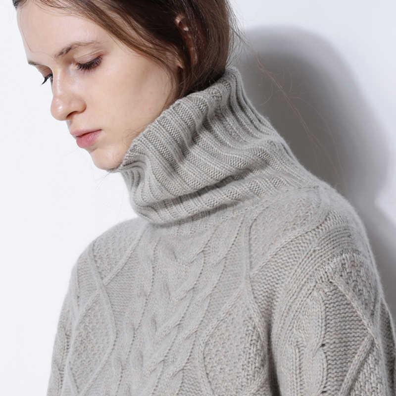 Suéter de invierno de mujer de cuello alto suéter de cachemira sólida suéter grueso femenino 2018 nuevo patrón de torsión de fondo cálido Jersey