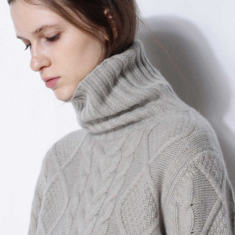 winter sweater women high collar solid cashmere sweater female thick sweater 2018 new twist pattern bottoming warm pullover