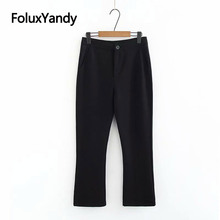 Stretched Flare Pants Office Lady Trousers Black Ankle-length Slim Plus Size Pants Women KKFY3049 все цены