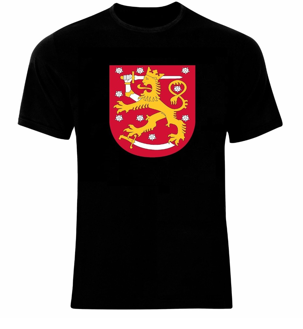 Coat Of Arms Of The <font><b>Finland</b></font> Finnish Arms <font><b>Flag</b></font> T-<font><b>Shirt</b></font> All Sizes Men T <font><b>Shirt</b></font> 2018 Summer 100% Cotton Casual Short Sleeve Tops Tee image