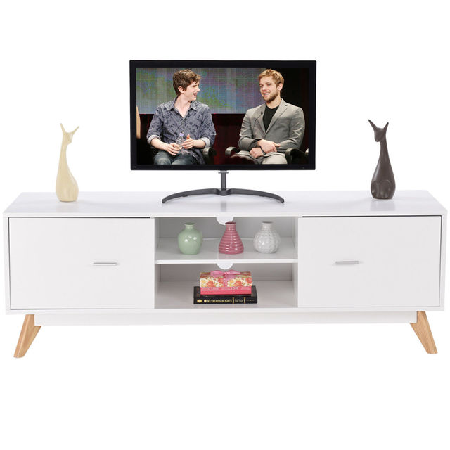 Giantex Modern TV Stand Entertainment Center Console Cabinet Stand 2 Doors  Shelves White Wood Living Room