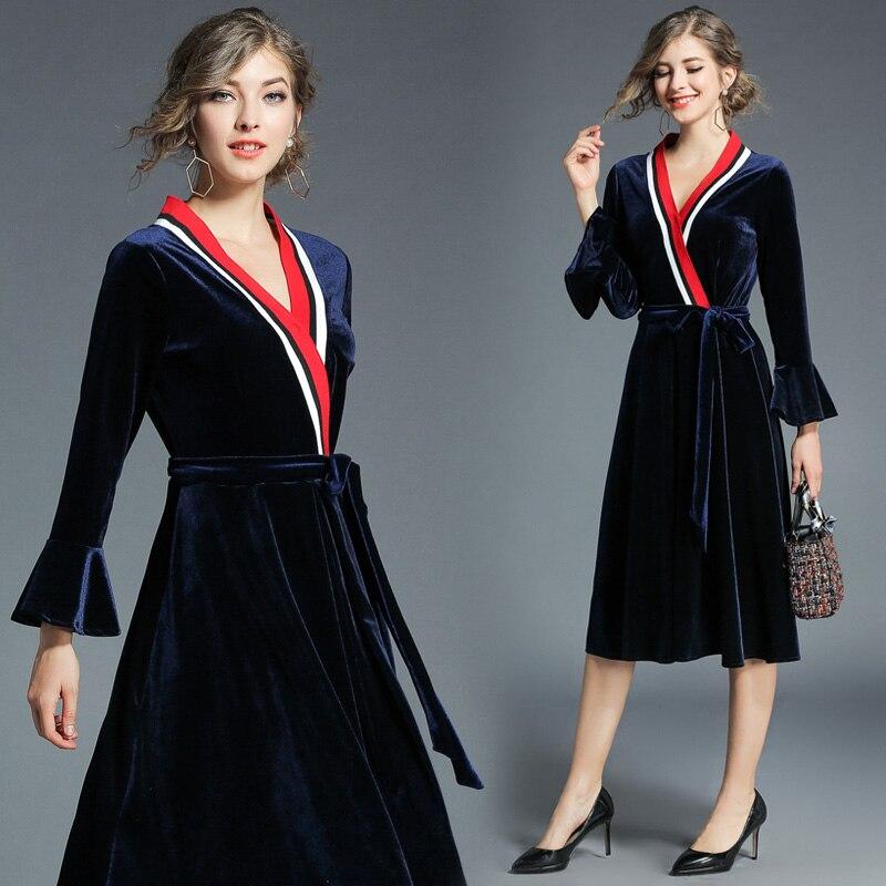 Manches Vêtements Nouveau Élégant M Partie 2xl Flare Produit Velours Cravate Dames nevk Printemps Dark Longues Femmes Robes V Complètes Blue Automne Taille SqUzMpV