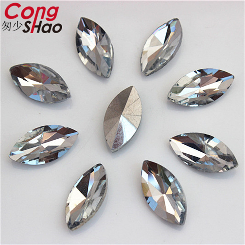 Cong Shao 50pcs 9x18mm Clear Crystals Horse eye Rhinestone Pointback Stones and Glass for Wedding Crafts DIY Accessories CS148C