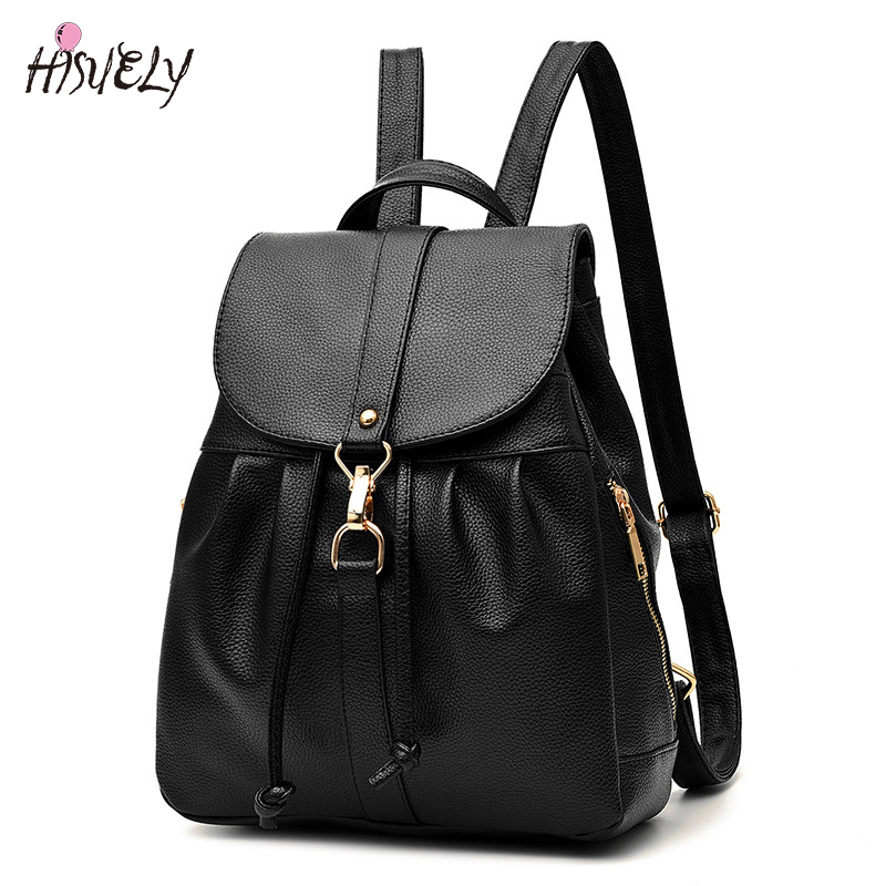 HISUELY High Quality Women Backpacks Lady Girls Travel Blosas Women Bags Leather Backpacks Rivet Backpacks Student