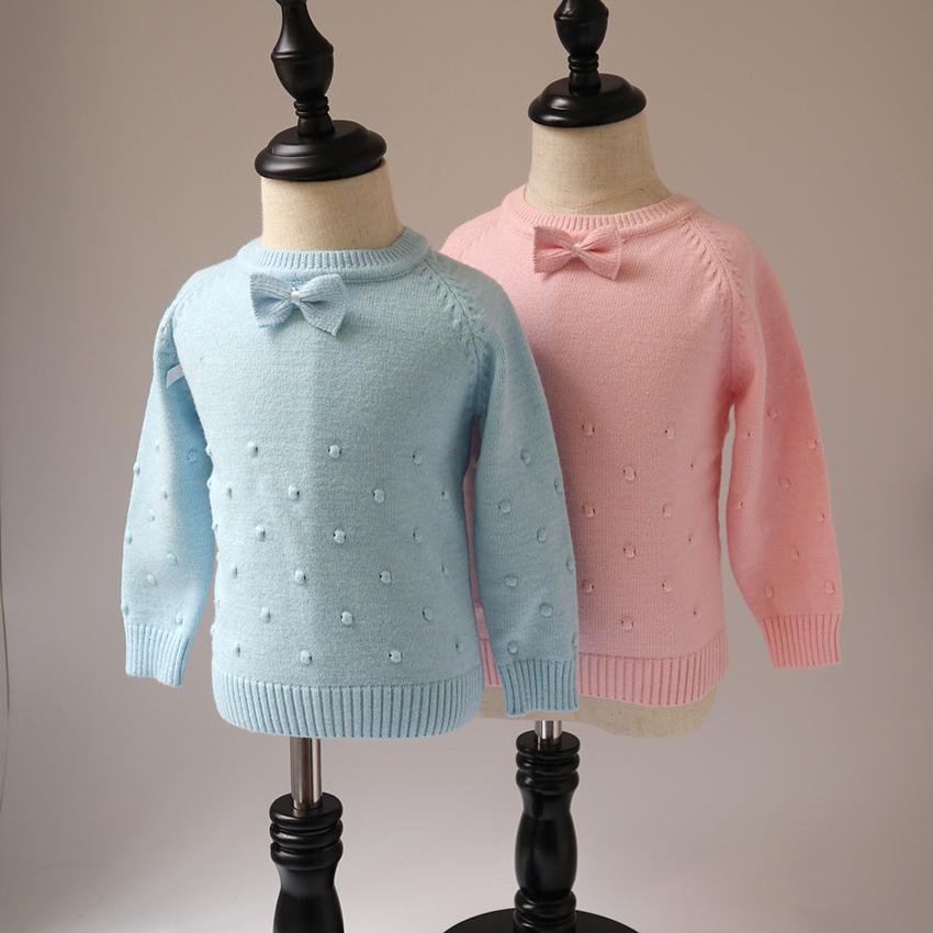2018 spring and autumn new style baby girls knitted sweater children fashion cute bow sweaters kids baby tops girls cute knitted sweater with skirt kids set wear sweet style with bow knot for spring